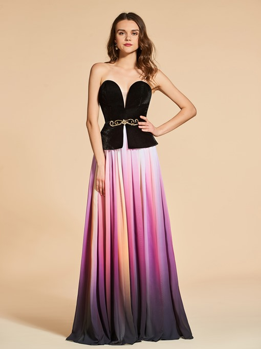 Sweetheart A-Line Beading Backless Evening Dress