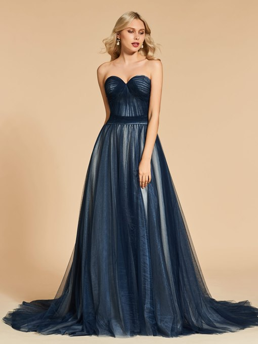 A-Line Sweetheart Pleats Court Train Evening Dress