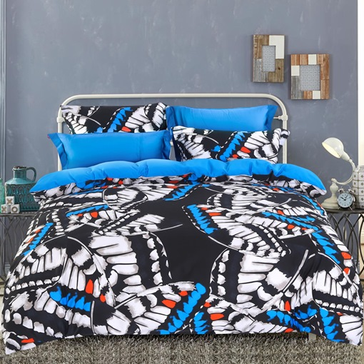 Dazzling Flying Butterflies Printed 4-Piece Cotton Bedding Sets/Duvet Cover