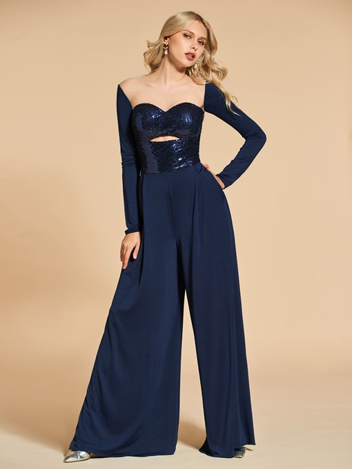 A-Line Sequins Long Sleeves Evening Jumpsuits