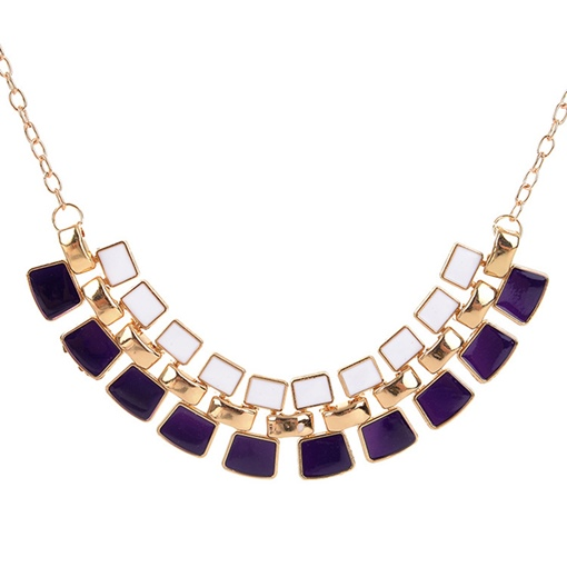 Square Oil Drip Ultra Violet Necklace