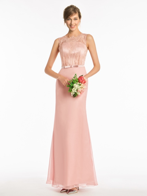 Lace Top Buttoned Column Bridesmaid Dress