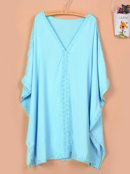 1789ac4197be7 Plain V-Neck Batwing Sleeve Cover-up