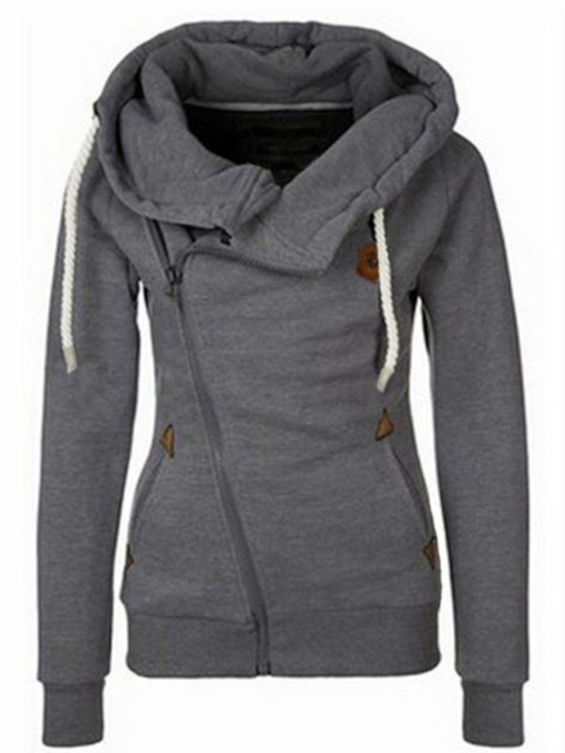 Heap Collar Patchwork Plain Women's Hoodie