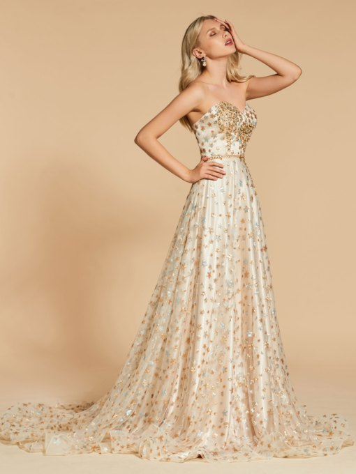 A-Line Sweetheart Beading Sequins Lace Evening Dress