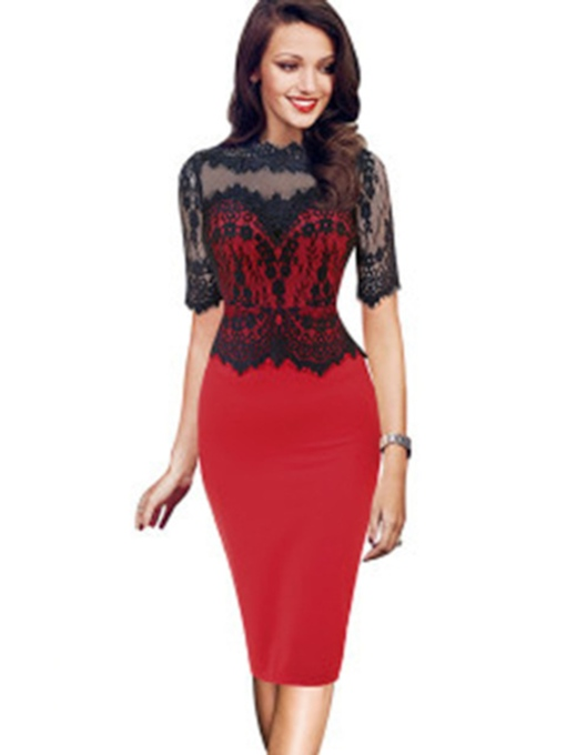 Stand Collar Half Sleeve See-Through Fall Women's Bodycon Dress