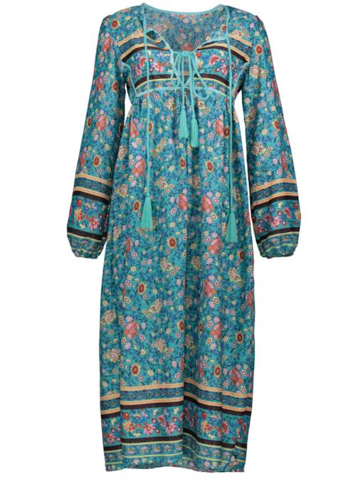 Color Block Floral Print Bohemian Women's Maxi Dress