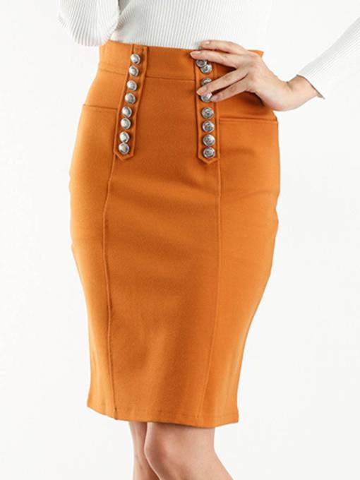 Double Bead High-Waist Women's Pencil Skirt