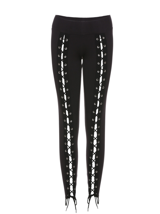 Skinny Lace-Up Damen Leggings in voller Länge