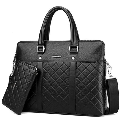 Business Style Quilted Lining Men's Bag