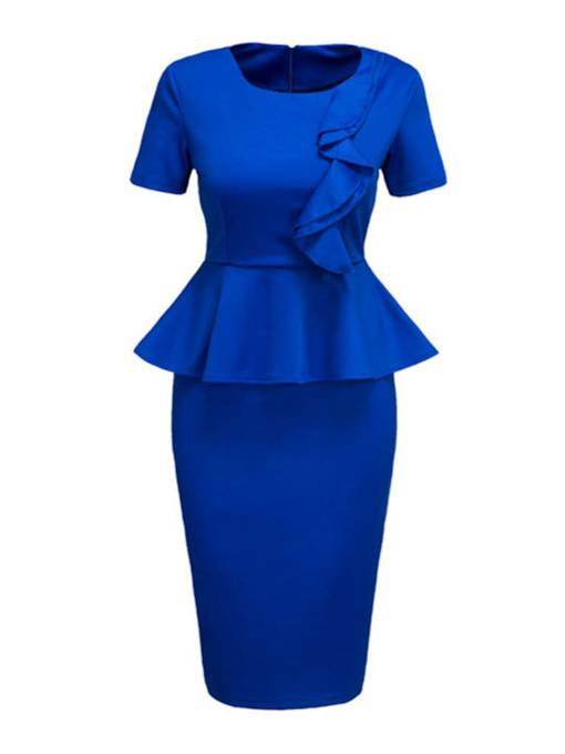 Blue Falbala Women's Bodycon Dress