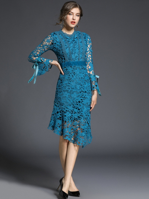 Lake Blue Bell Sleeve Women's Lace Dress
