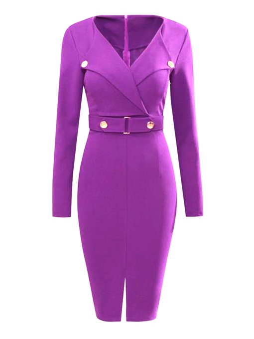 Purple Long Sleeve Back Zipper Women's Bodycon Dress