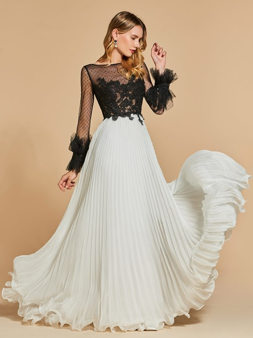 A-Line Lace Pleats Bateau Long Sleeves Evening Dress