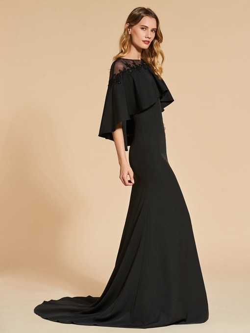 A-Line Button Lace Bateau Beading Evening Dress