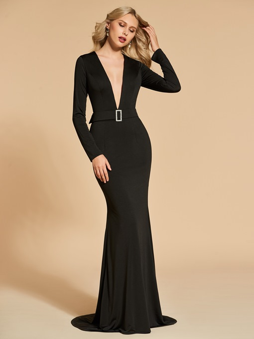 Trumpet Long Sleeves V-Neck Sweep Train Evening Dress