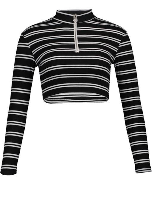 Turtleneck Stripe Zipper Short Women's T-shirt