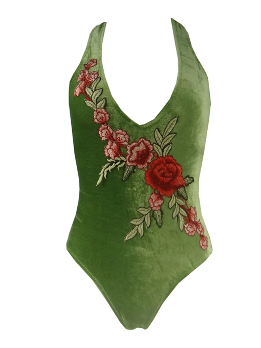 Deep V-Neck Embroidery Velvet One-Piece Swimsuit