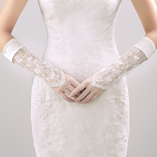 Beading Lace Fingerless Wedding Gloves