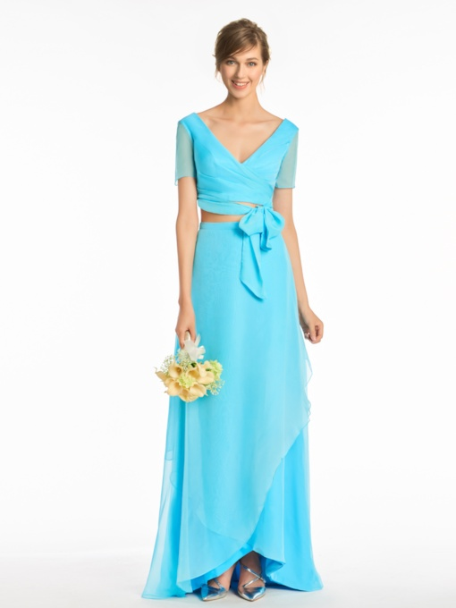 Short Sleeve Sashes Two Pieces Bridesmaid Dress
