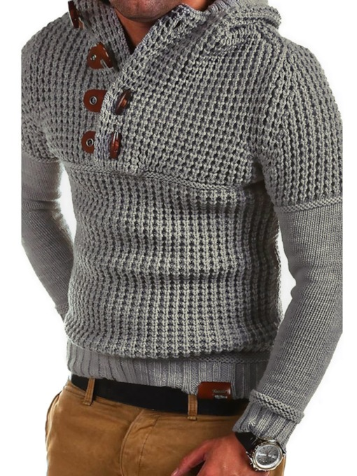 Stand Collar Button Decorated Plain Slim Men's Sweater