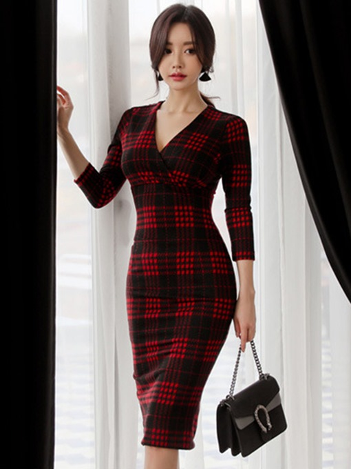 Plaid V Neck Women's Bodycon Dress