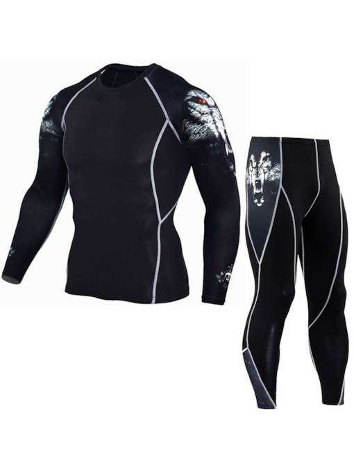 Color Block Long Men's Outdoor Sport Suit