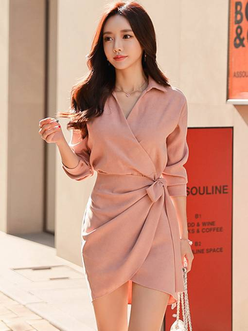 Pink Lapel Lace up Women's Day Dress