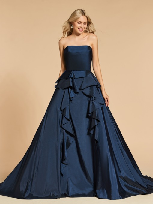 Strapless A-Line Backless Evening Dress