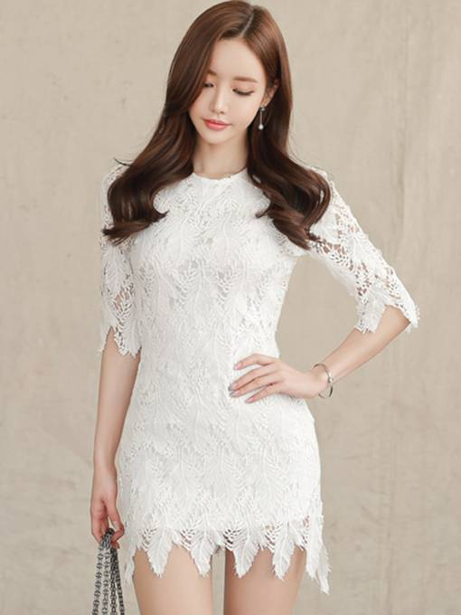 White Half Sleeve Bodycon Women's Lace Dress