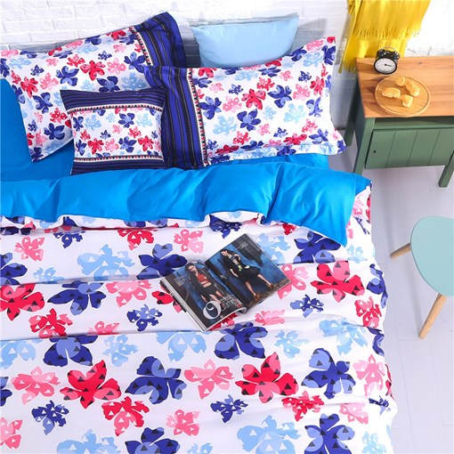 Floral Printed 4-Piece Cotton Bedding Sets