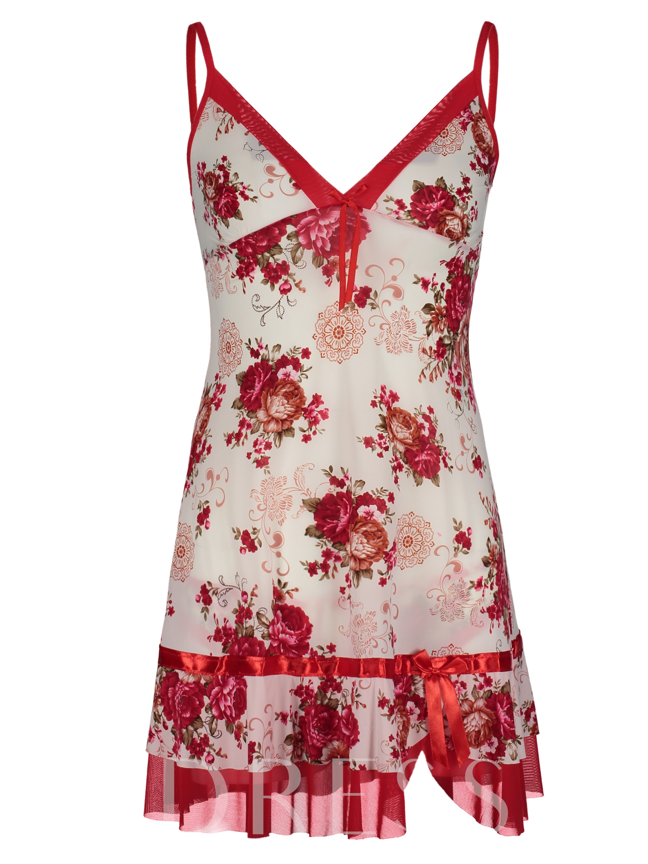 Image of Floral Pullover Above Knee Nightgown