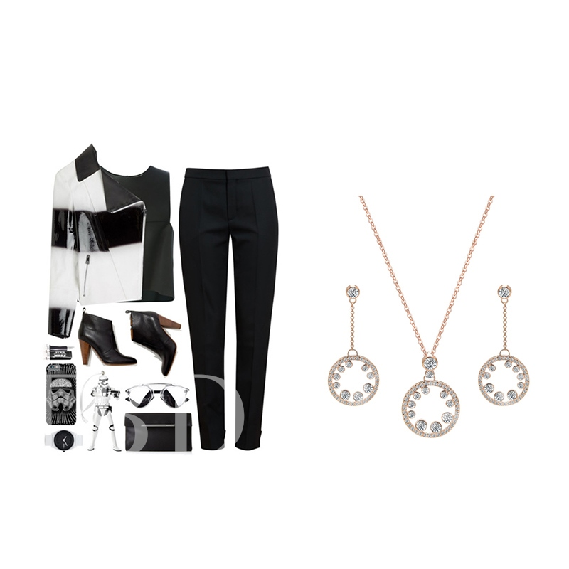 Alloy Hollow Out Rhinestone Jewelry Sets