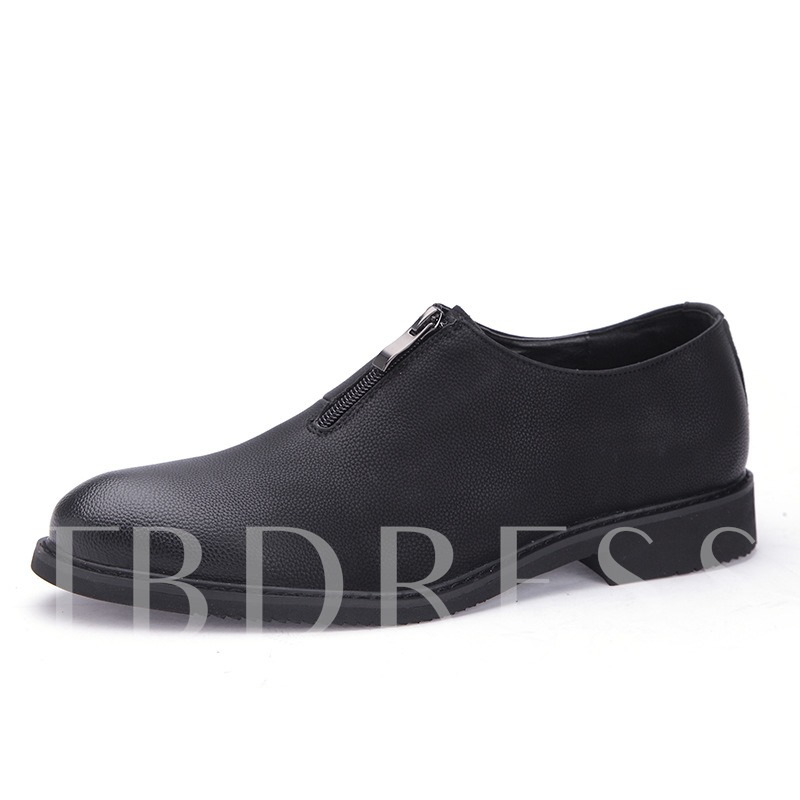 Front Zipper British Style Plain Black Professional Shoes for Men