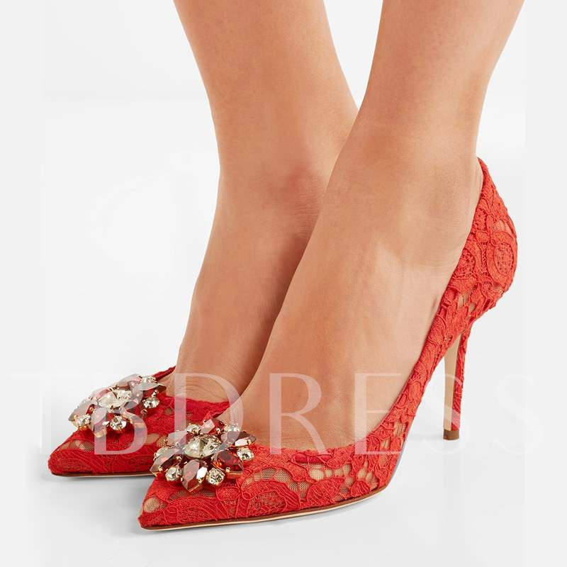 ee452f1a98d Plain Red Lace Pumps Rhinestone Women s High Heels Wedding Shoes. Sold Out