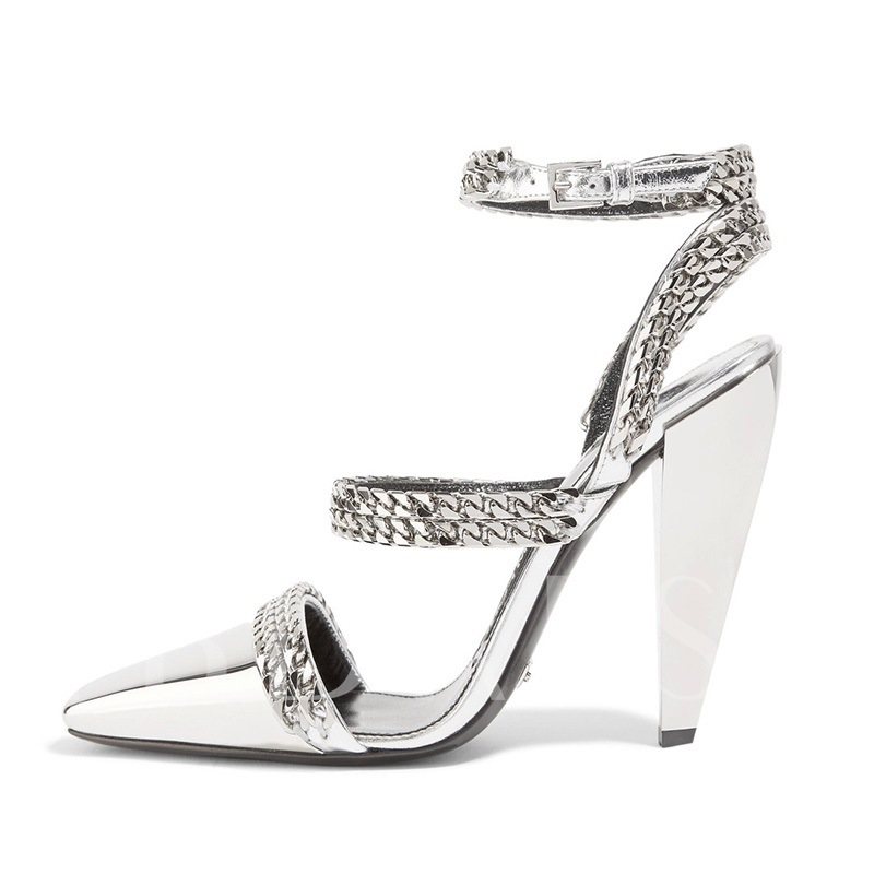 f4b546a3bdc Metallic Shoes Square Toe Ankle Strap High Heel Silver Sandals. Sold Out