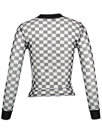 Stand Collar Color Block Plaid See-Through Women's T-shirt