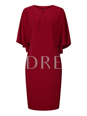 Solid Color Cape and Skirt Women's Two Piece Dress