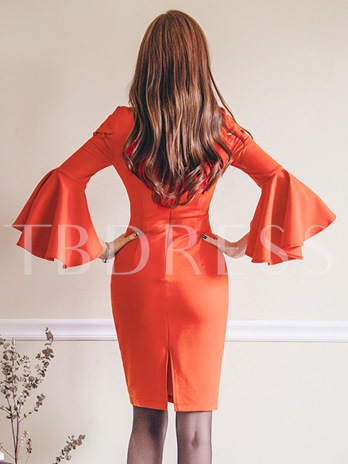 Orange Red Bell Sleeve Women's Bodycon Dress