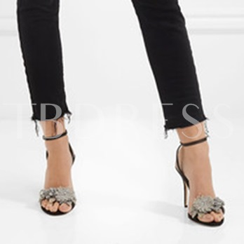 Ankle Strap High Heel Rhinestone Black Classic Sandals for Women