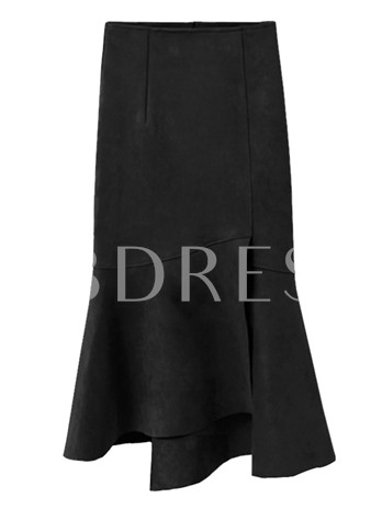 Plain Pleated Zipper High Waist Women's Skirts