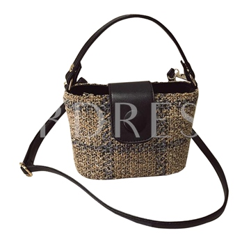 Casual Knitted PU Women Tote