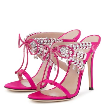 Lace Up Bow Rhinestone High Heel Women's Sandals Slippers