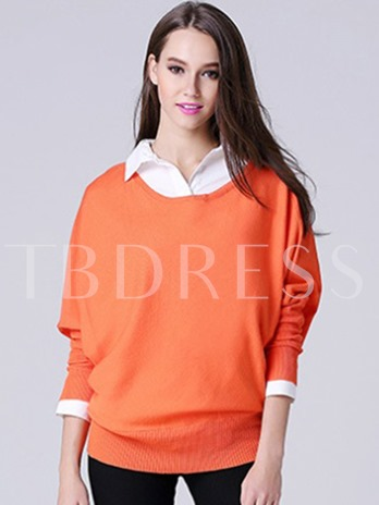 Plain Pullover Batwing Sleeve Plain Women's Sweater