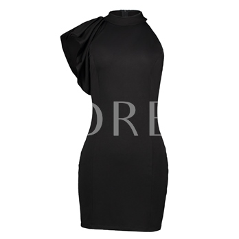 Stand Collar Falbala Patchwork Women's Sheath Dress
