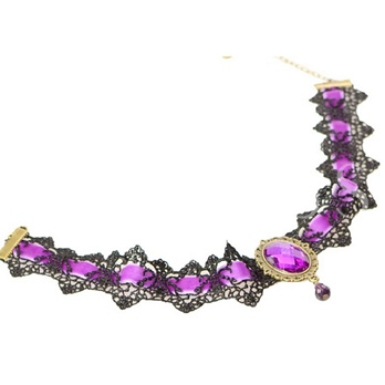 Lace Synthetic Stones Ultra Violet Torques Choker Necklace