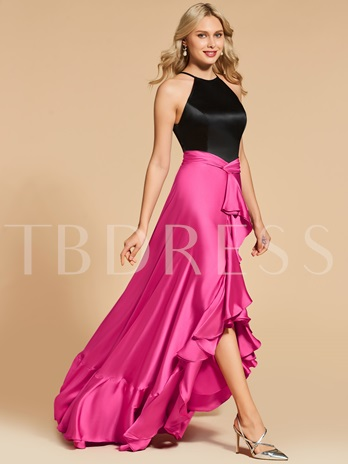 Jewel A-Line Ruffles Floor-Length Evening Dress