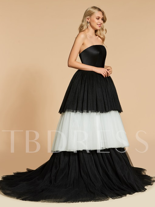 Strapless Ball Gown Multi Color Evening Dress