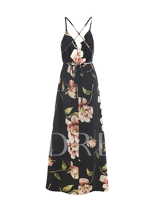 Spaghetti Straps Printing Women's Maxi Dress