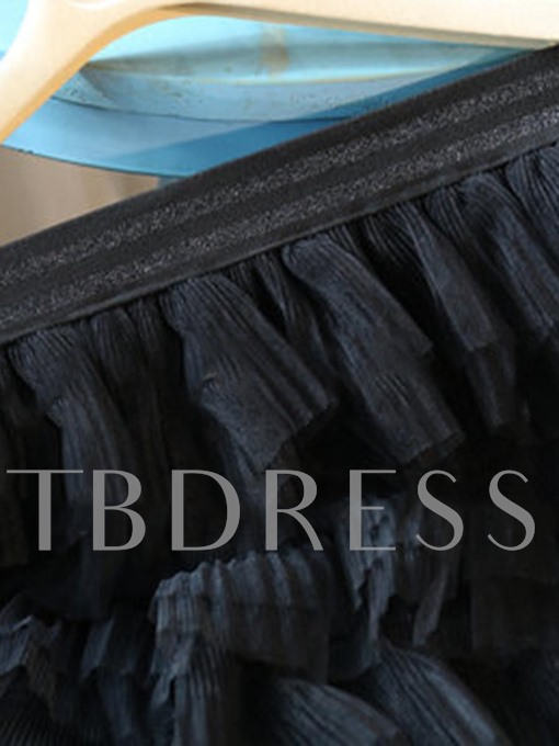 Pure Color Mesh Women's Tiered Skirt